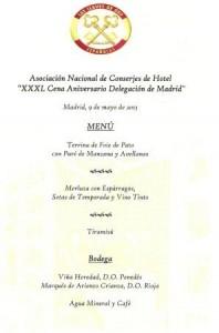Menú XXXL Cena Delegación Madrid
