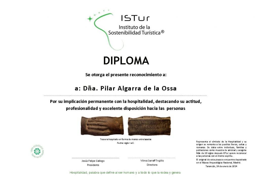 Diploma de Reconocimiento a la Hospitalidad que otorga ISTur