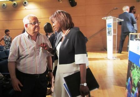 Ertharin Cousin, Directora Ejecutiva del Programa Mundial de Alimentos de Naciones Unidas, Jesús Felipe Gallego Presidente Grupo ISTur