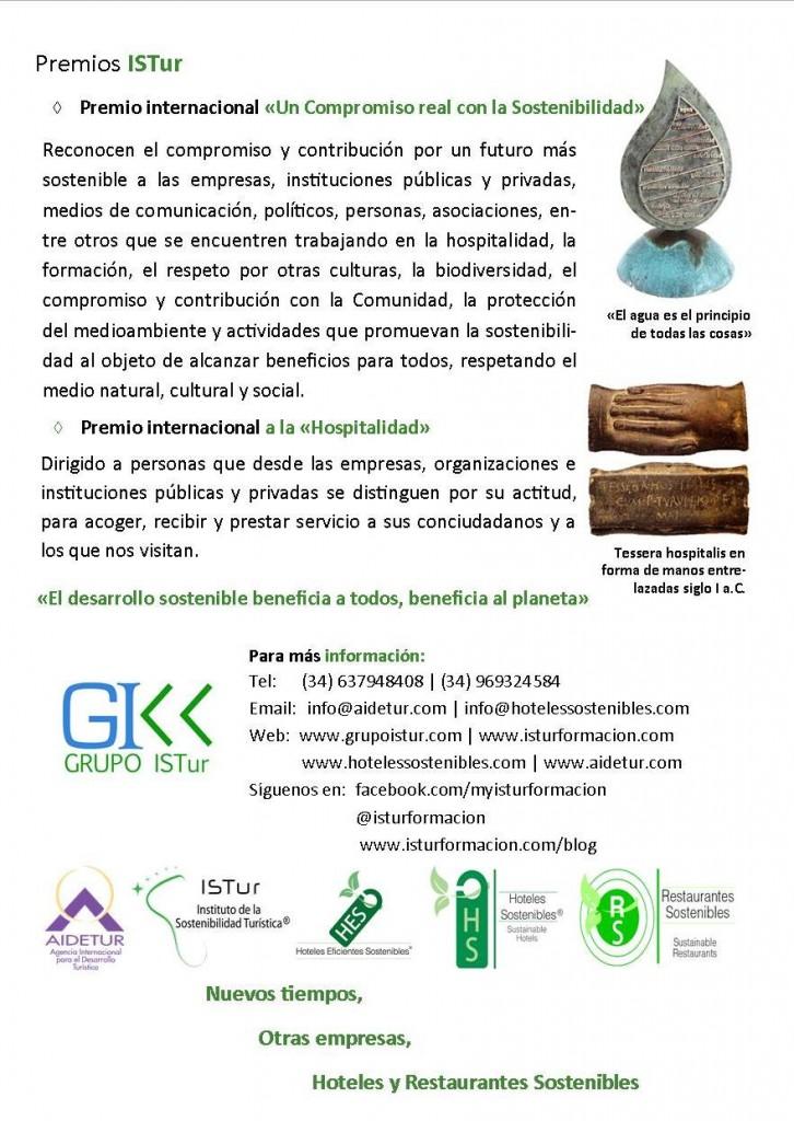 Premios internacionales «UN COMPROMISO REAL CON LA SOSTENIBILIDAD» y «PREMIO  A  LA  HOSPITALIDAD»