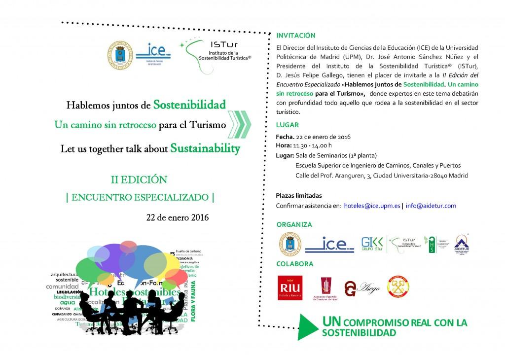 II Edición del Encuentro Especializado «Hablemos juntos de sostenibilidad. Un camino sin retroceso para el turismo»
